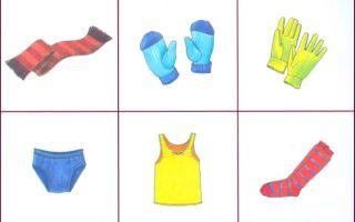 Картинки одежды для детей 3-4 лет, карточки для занятий и игр в детском саду