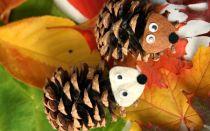 Осенние поделки из шишек для детского сада и начальной школы