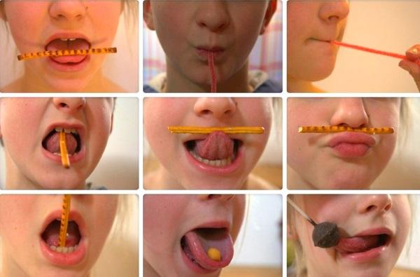 Гимнастика для языка с соломкой