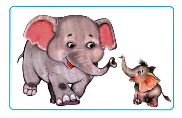 Слониха и слоненок карточка