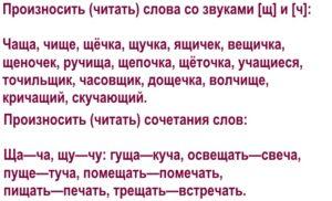 Дифференциация звуков [ч]—[ш'] в словах