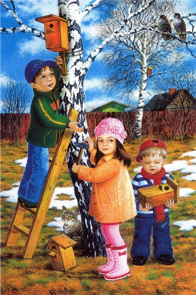 Дети крепят скворечник