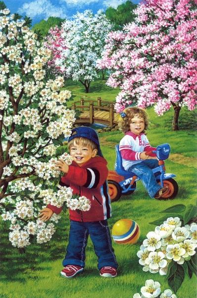 Дети собирают яблоневый цвет