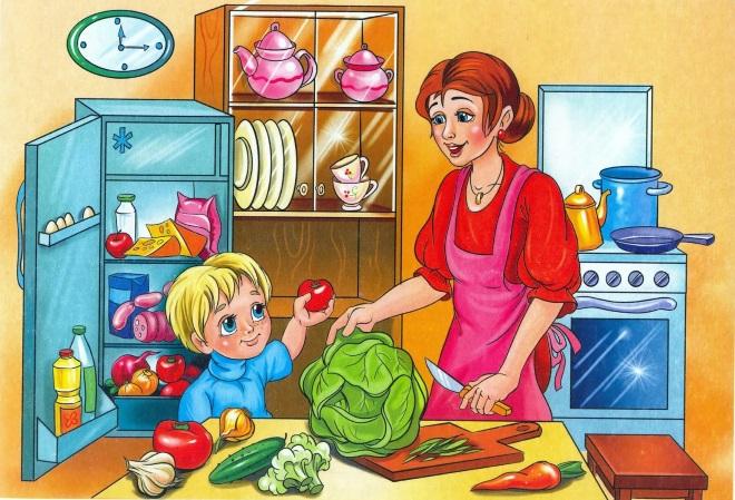 Мальчик помогает маме готовить