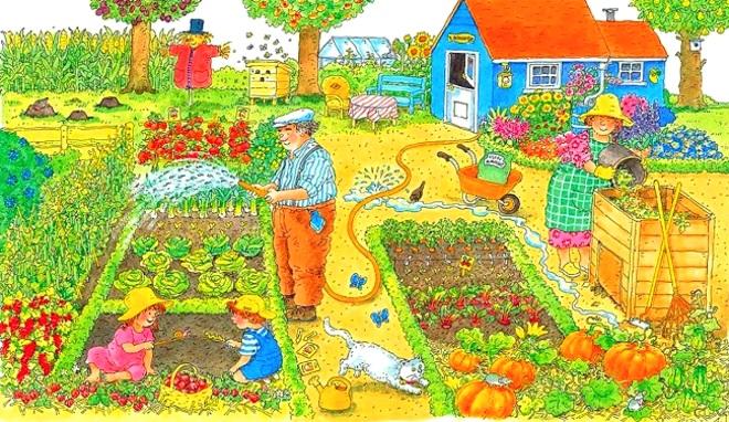 Семья на огороде