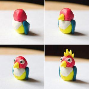 Попугай из пластилина