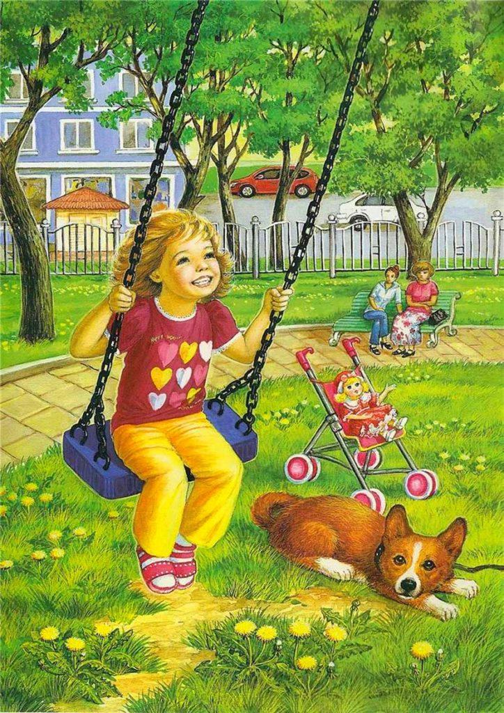 Девочка качается на качелях