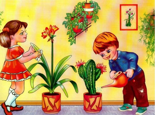 Дети ухаживают за комнатными растениями