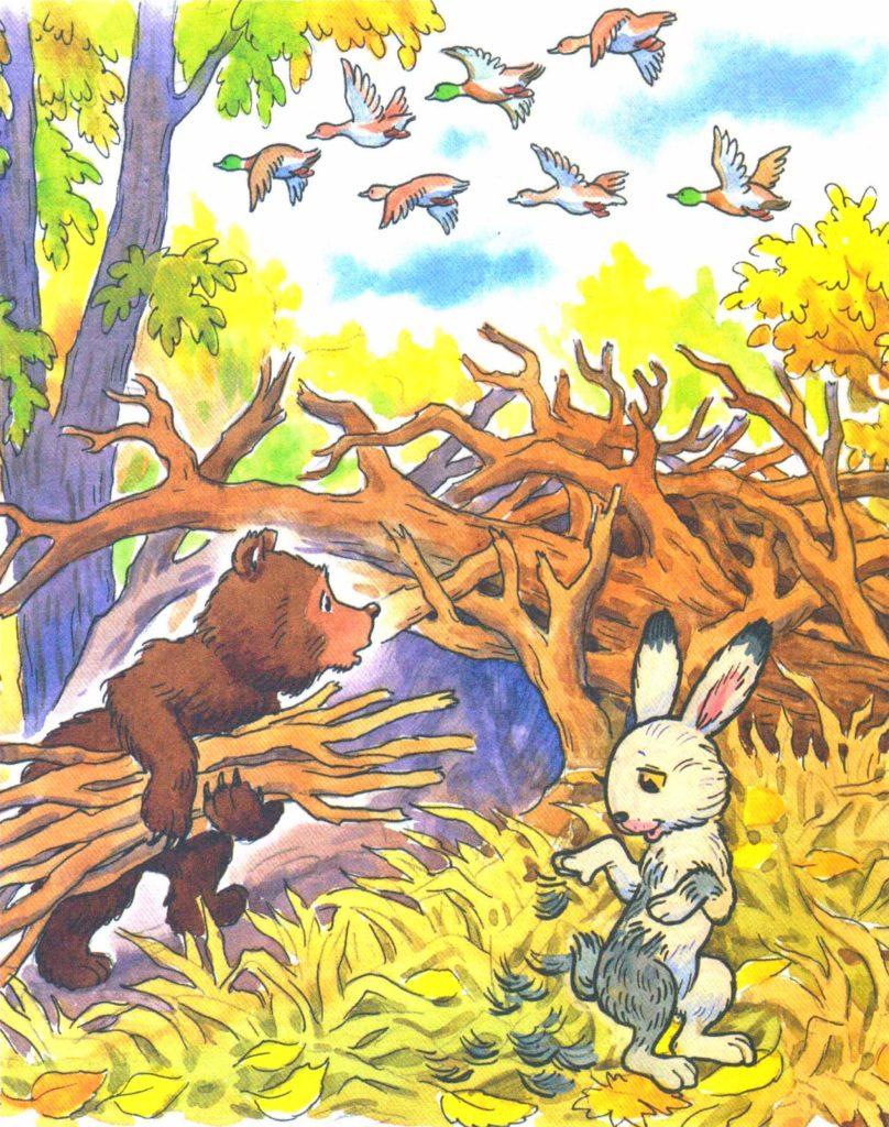 Мишка и зайка в лесу