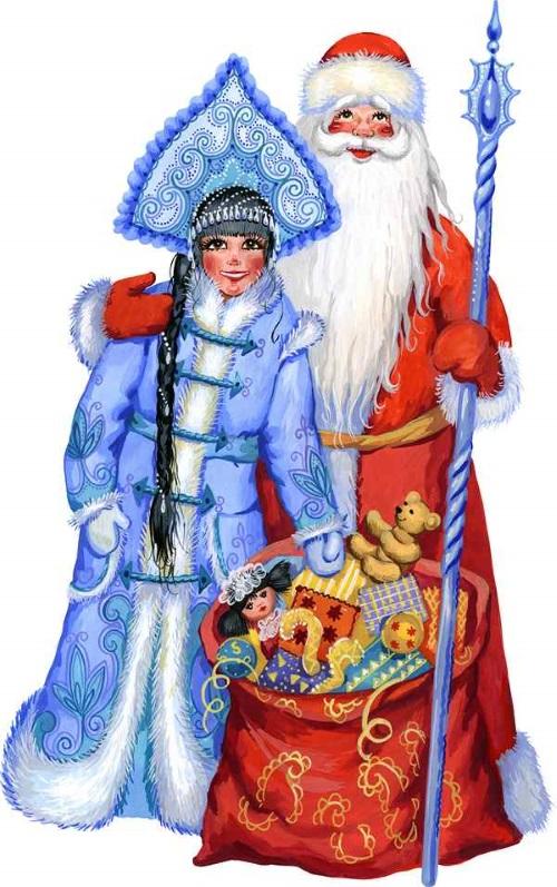 Дед Мороз и Снегурочка рисунок 9