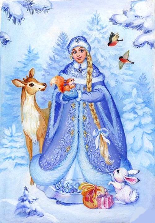 Снегурочка с олененком