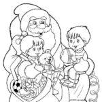 Раскраска Дед Мороз дарит детям подарки