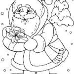 Раскраска Дед Мороз с подарком