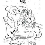 Раскраска Дед Мороз и Снегурочка на санях