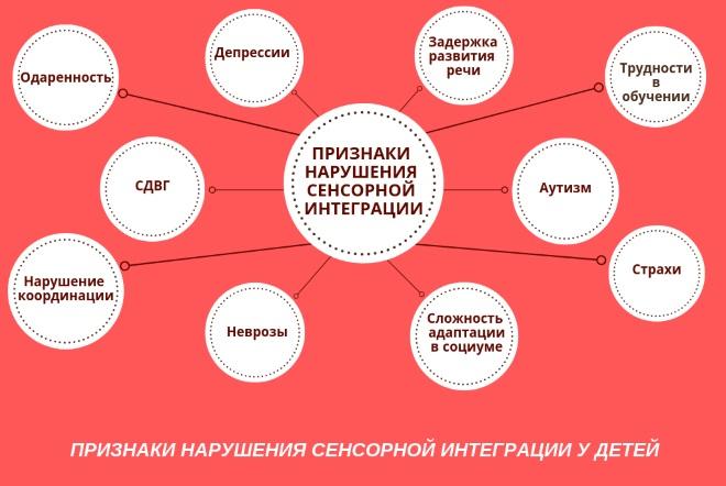 Признаки нарушения сенсорной интеграции схема