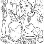 Девочка печет куличи