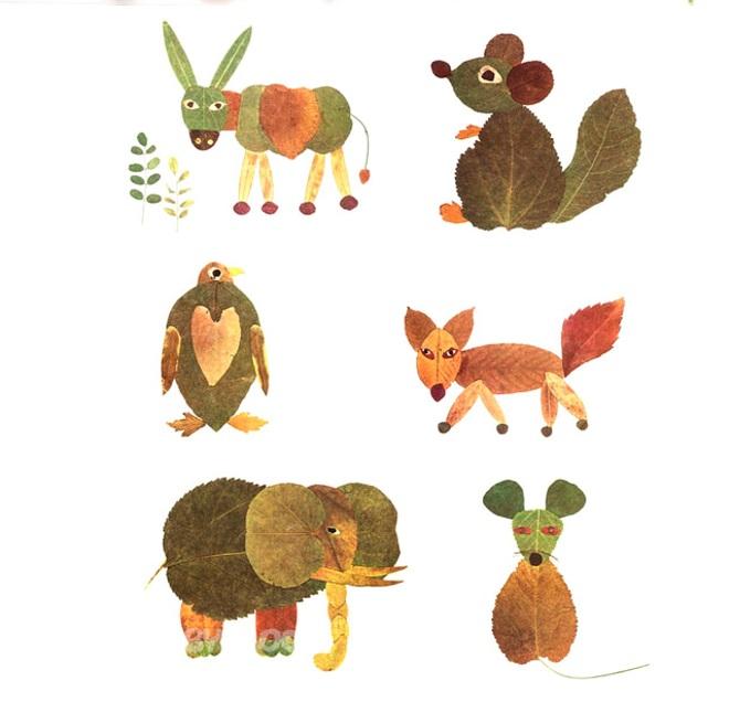 Аппликация животные из листьев
