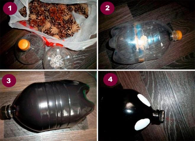 Как делать ежика из бутылки и шишек 1