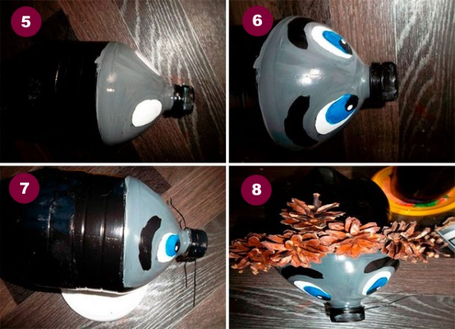 Как делать ежика из бутылки и шишек 2