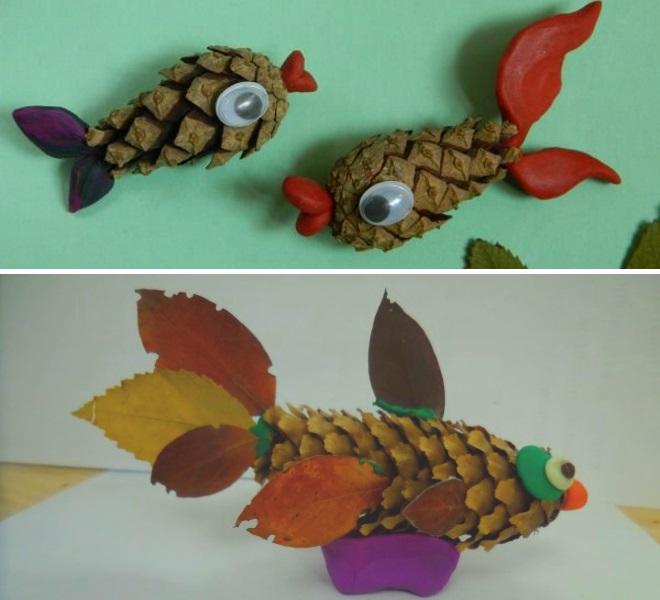 Рыбки из шишек