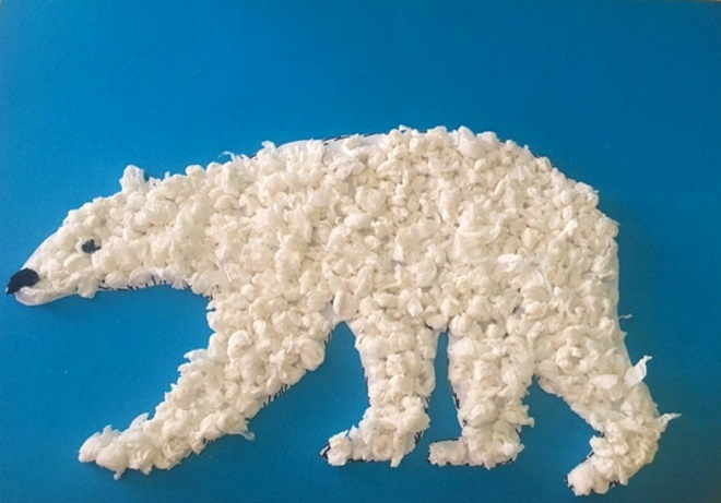 Белый медведь из салфеток