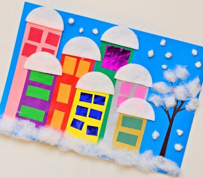 Аппликация Город под снегом