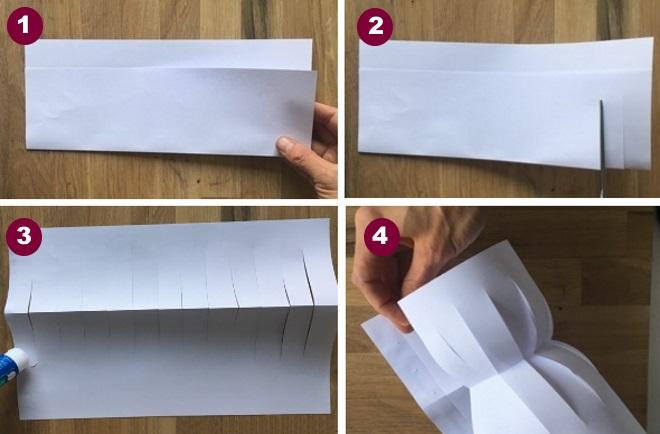 Изготовление снеговика из бумаги первые шаги