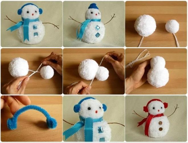 Снеговик из помпона