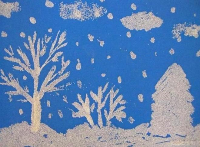 Аппликация Снежный лес из соли