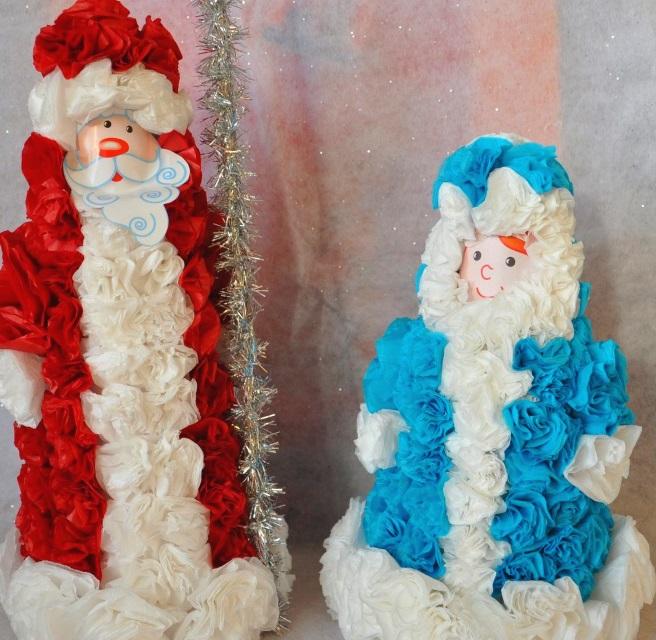 Дед Мороз и снегурочка из салфеток