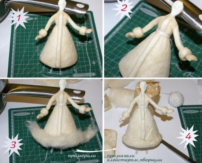 Формирование куклы из ваты