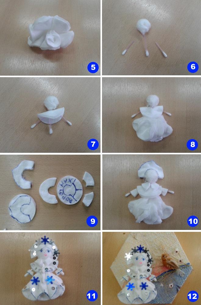 Снегурочка из ватных дисков 2