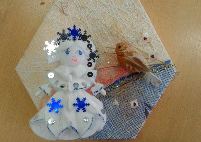 Снегурочка из ватных дисков