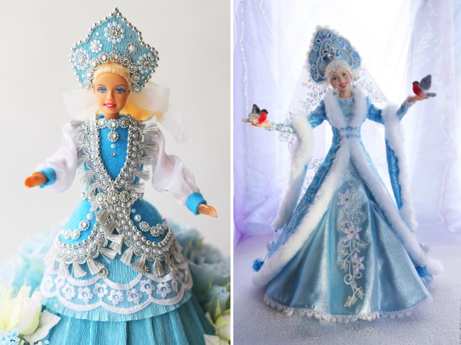 Кукла Барби в наряде снегурочки