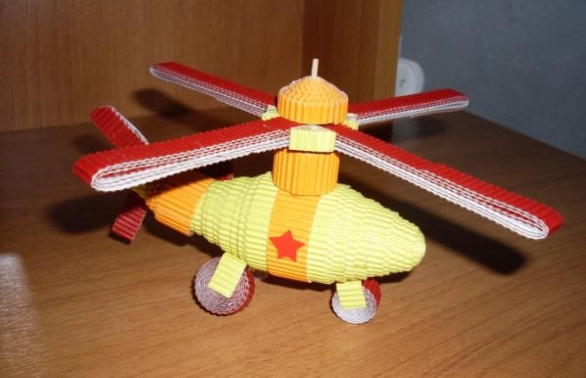 Вертолет из гофрированной бумаги