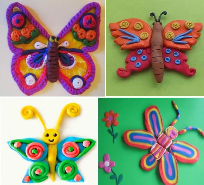 Бабочки из пластилина