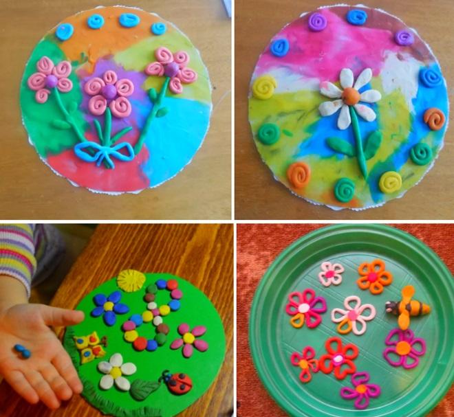 Цветы из пластилина на пластиковых тарелках