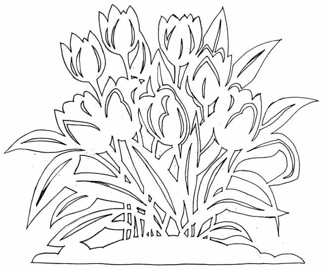 Вытынанки тюльпаны