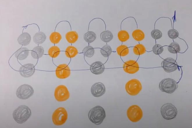 Схема плетения от центра