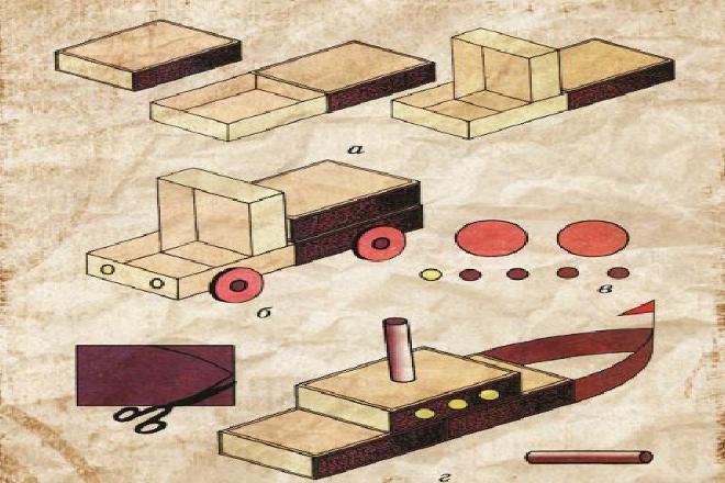 Схема корабля из коробков