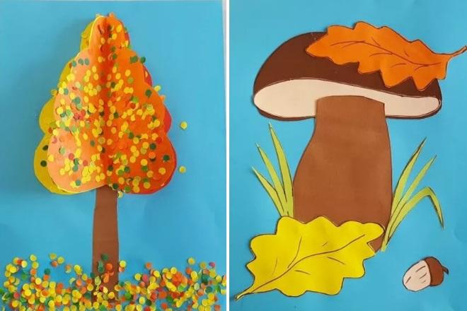 Аппликация дерево и гриб