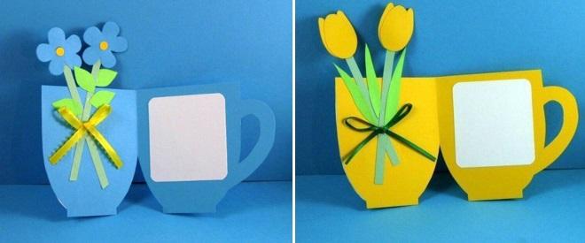 Открытки в виде чашек с цветами