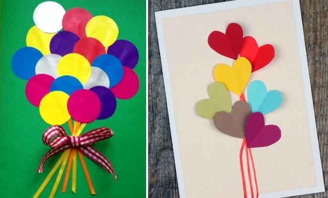 Открытки с воздушными шарами из бумаги