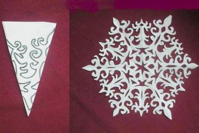 Ажурная снежинка из салфетки