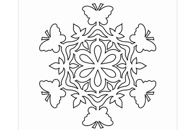 Трафарет снежинки 8