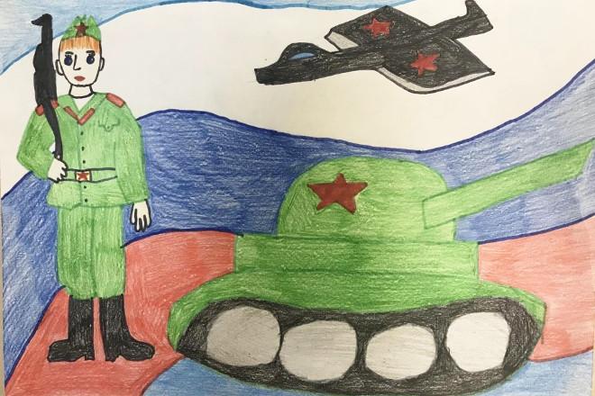 Рисунок солдата с военной техникой