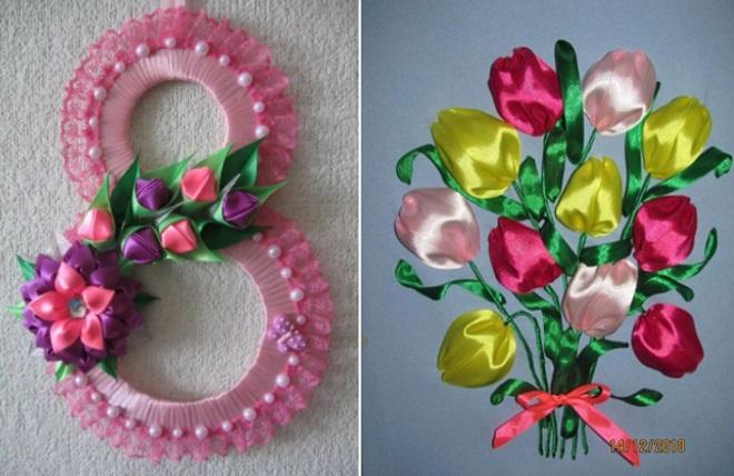 Цветы и восьмерка из лент