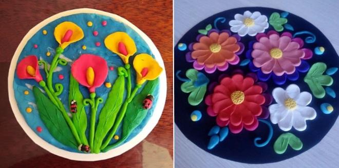 Цветы из пластилина на тарелке
