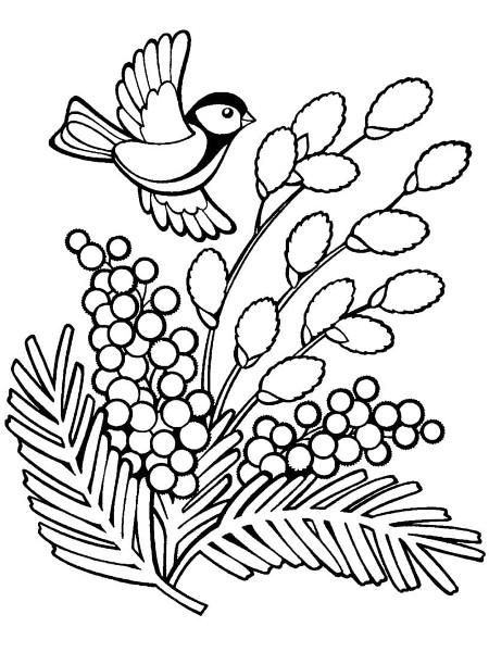 Трафарет мимозы с птичкой