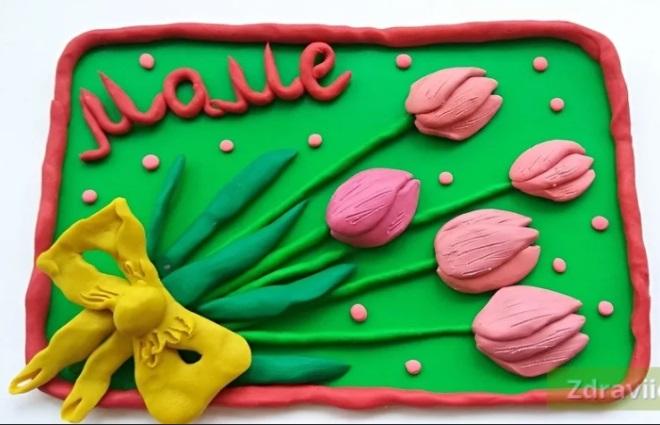 Букет тюльпанов из пластилина